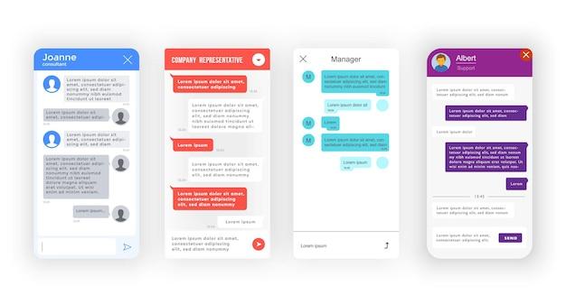 Chatbot, interface do aplicativo bot messenger, bate-papo de suporte