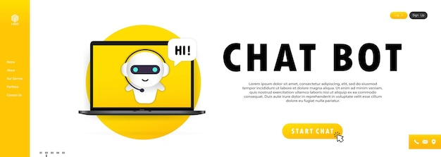 Chatbot no banner do laptop. modelo de página de destino do bot de assistente online. diálogo, mensagem. suporte técnico. para página da web.