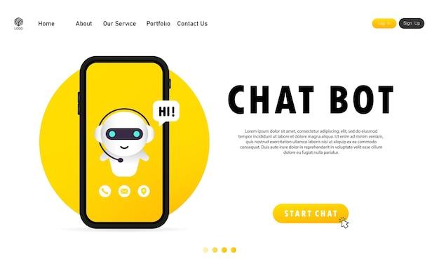 Chatbot no smartphone. modelo de página de destino do bot de assistente online.
