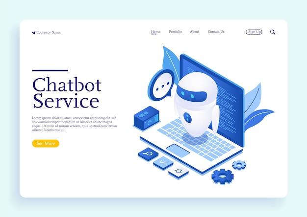 Chatbot ou conceito de rede de inteligência artificial em ilustração vetorial isométrica