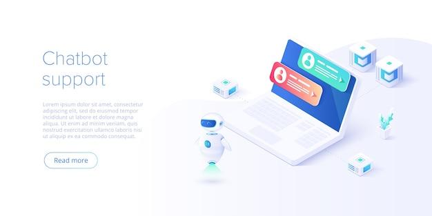 Chatbot ou conceito de rede de inteligência artificial em isométrico.