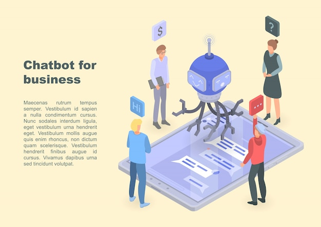 Chatbot para banner de conceito de negócio, estilo isométrico