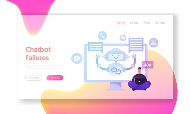 Chatbot, robô ai conversando com modelo de página de destino do cliente.