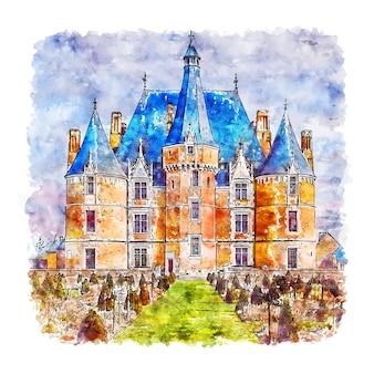 Chateau de martainville frança esboço em aquarela desenhado à mão