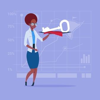Chave de exploração de mulher de negócios americano africano