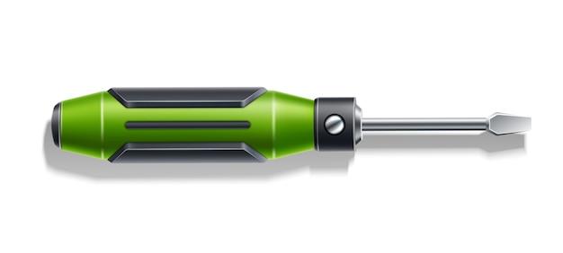 Chave de fenda realista vector verde 3d ferramenta de reparo