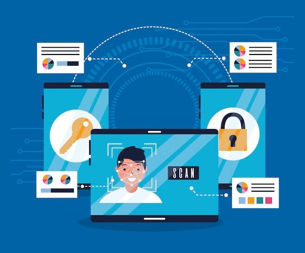 Chave de segurança de verificação biométrica de tecnologia