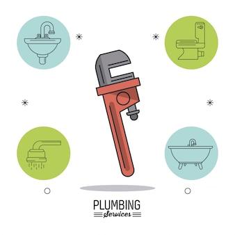 Chave de tubo em ícones de closeup e banheiro