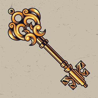 Chave elegante antiga dourada