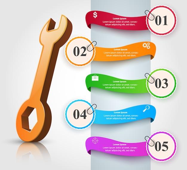 Chave inglesa, chave de fenda, ícone de reparação. infográfico de negócios