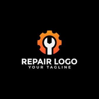 Chave inglesa e engrenagem, reparação, conserto de máquinas, manutenção logo design Vetor Premium