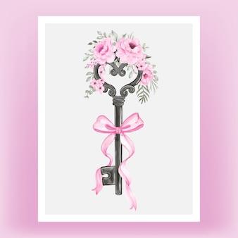 Chave isolada com fita rosa e ilustração em aquarela de rosas