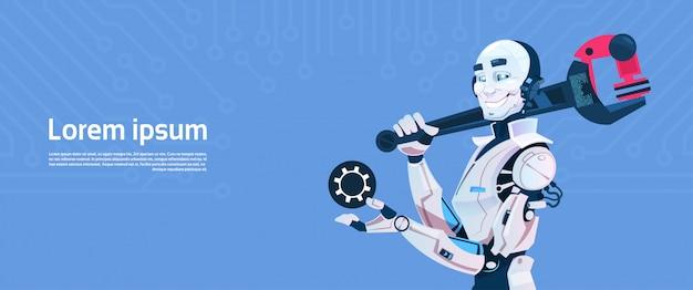 Chave moderna da chave inglesa da posse da posse do robô, tecnologia futurista do mecanismo da inteligência artificial
