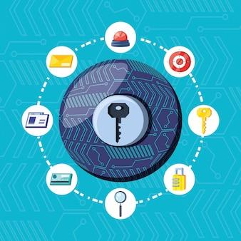 Chave na esfera de segurança cibernética