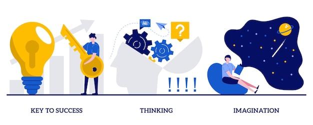 Chave para o conceito de sucesso, pensamento e imaginação com pessoas minúsculas. conjunto de crescimento pessoal e profissional. brainstorming, ideia e metáfora de fantasia, motivação e inspiração.