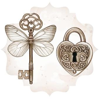Chave vitoriana de fantasia de metal com asas de borboleta e fechadura em forma de coração Vetor Premium