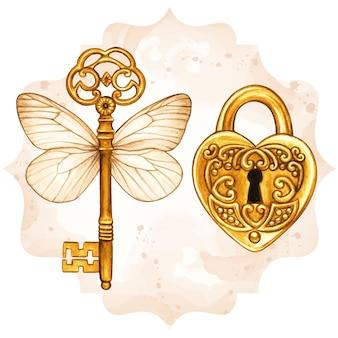 Chave vitoriana de fantasia dourada com asas de borboleta e fechadura em forma de coração