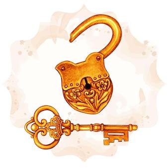 Chave vitoriana de fantasia dourada e cadeado aberto