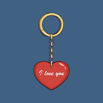 Chaveiro de ouro dos desenhos animados com coração vermelho. eu te amo.