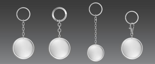 Chaveiro de prata, suporte para chaveiro com corrente de metal e anel
