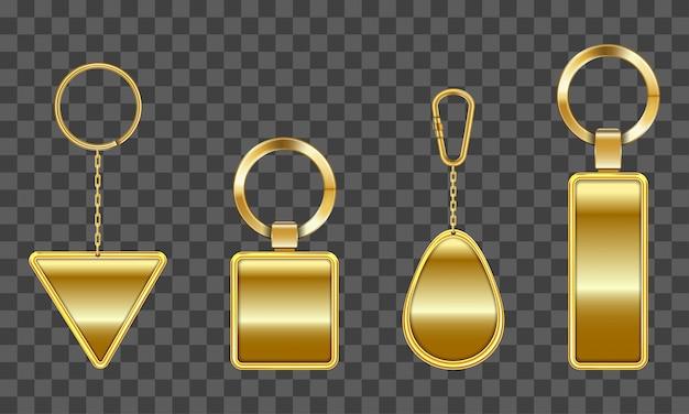 Chaveiro dourado, suporte para chave com corrente