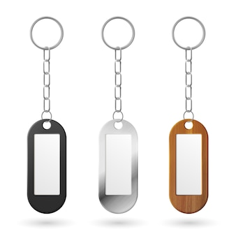 Chaveiros de metal, plástico e madeira