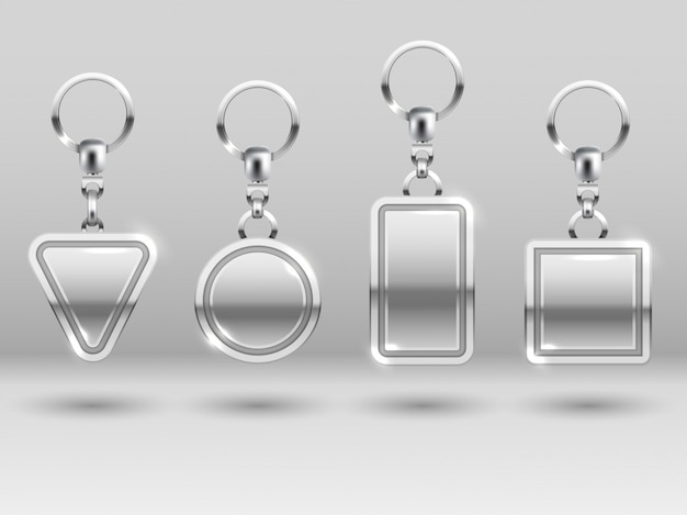 Chaveiros de prata em diferentes formas