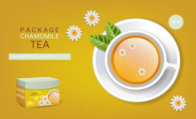 Chávena de camomila de vetor de chá realista. ilustrações 3d de vista superior