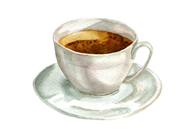 Chávena de chá em aquarela branca