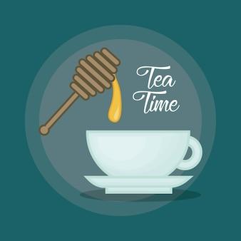 Chávena quente de chá adoçada com mel