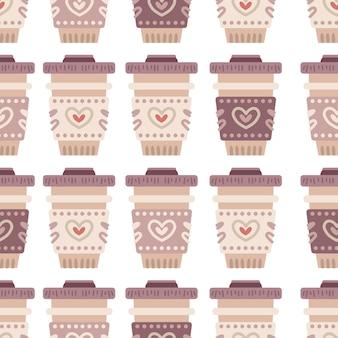 Chávenas de café para um padrão sem emenda. fundo de doces de café ou café. deliciosa bebida no copo. ilustração vetorial para design de menu para loja de doces, loja de doces, loja de chá