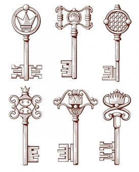 Chaves antigas retrô na mão desenhada estilo