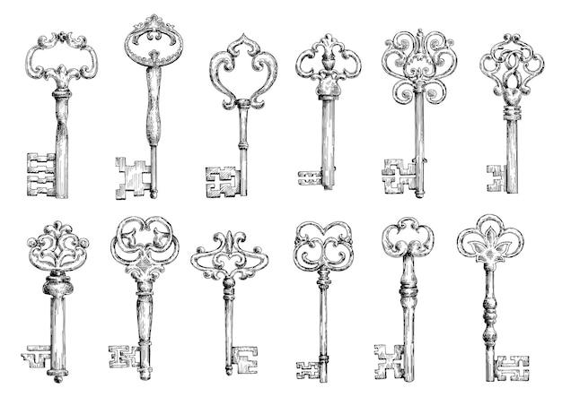Chaves vintage medievais ornamentais com forjamento intrincado, compostas por elementos de flor de lis, rolos de folhas vitorianas e redemoinhos em forma de coração.