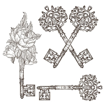 Chaves vintage medievais ornamentais