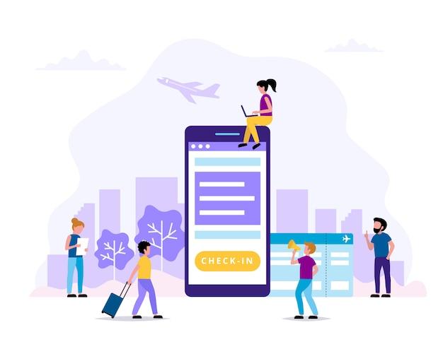 Check-in, ilustração do conceito com smartphone, cartão de embarque.