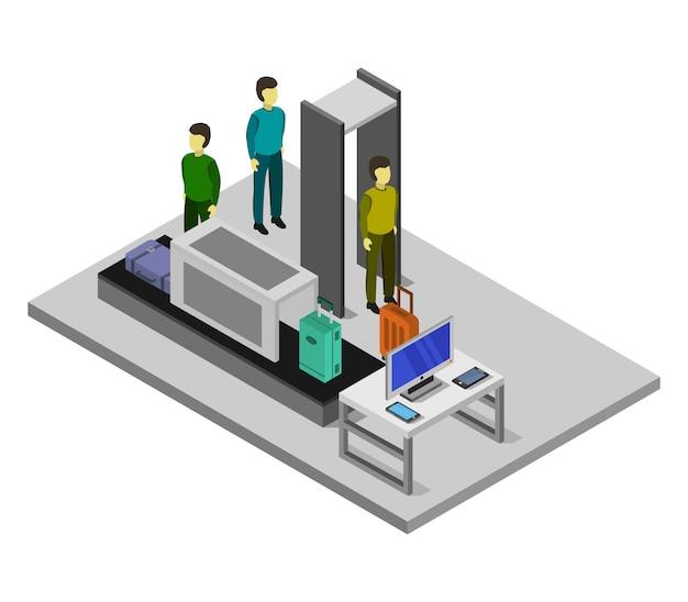 Check-in isométrico do aeroporto