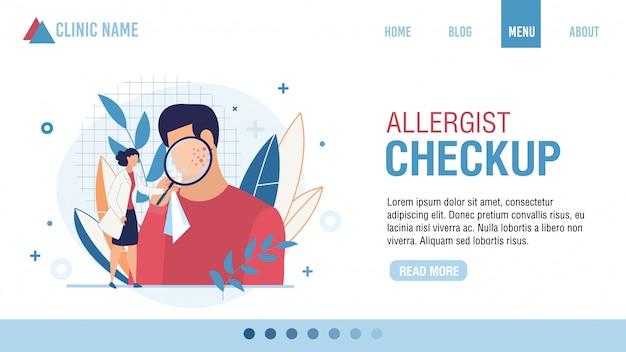 Check-up alergista na página de destino