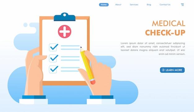 Check-up médico na página inicial do site