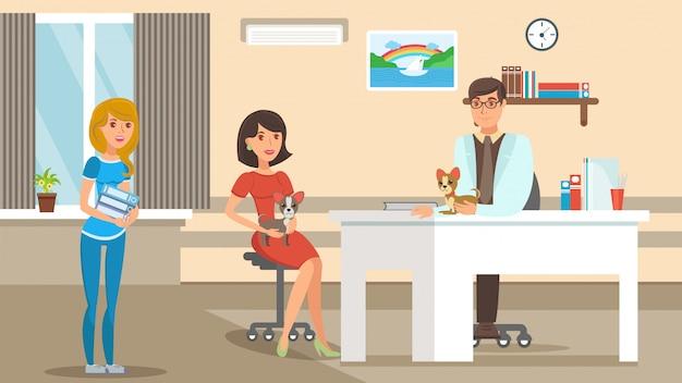 Check-up veterinário plana vector cor ilustração