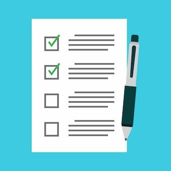 Checklist e caneta design plano de vetor