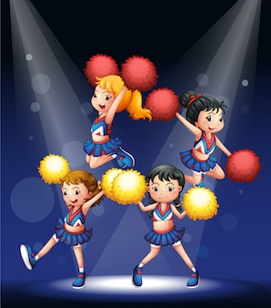 Cheerdancers realizando no palco