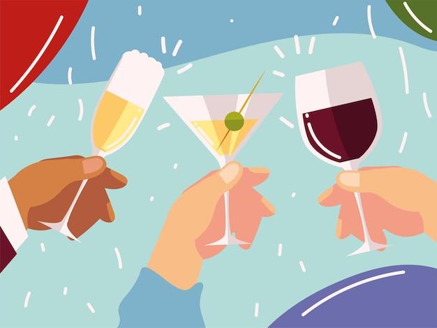 Cheers, hands with coquetéis taça de vinho, celebração