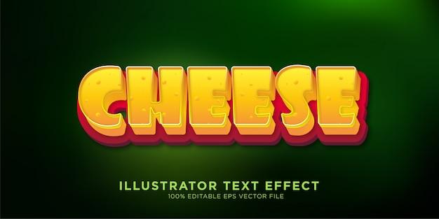 Cheese design de efeitos de texto estilo illustrator