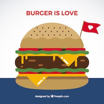 Cheeseburger apetitoso com tomate e alface
