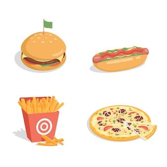 Cheeseburger, cachorro-quente, batata frita e pizza