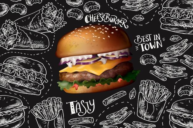 Cheeseburger realista no fundo do quadro-negro