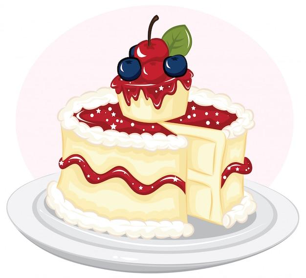 Cheesecake de nova york com ilustração de cereja fresca