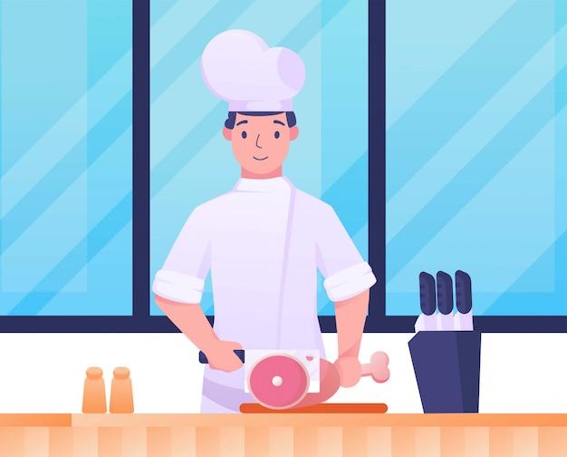 Chef açougueiro carne na cozinha ilustração