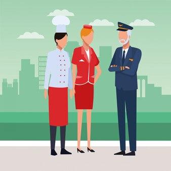 Chef, aeromoça e piloto de pé