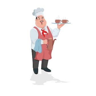 Chef amigável apresentando com chaleira e xícaras de café na mão